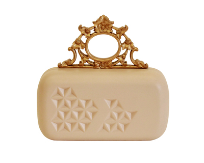 Cream and gold ornate clutch thumb