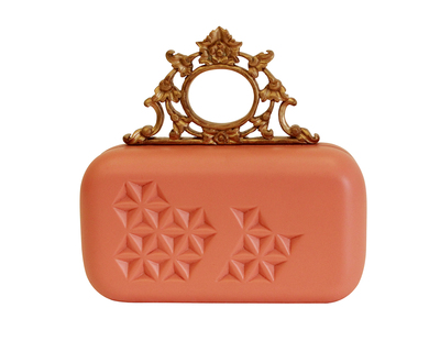 Pink and gold ornate clutch thumb