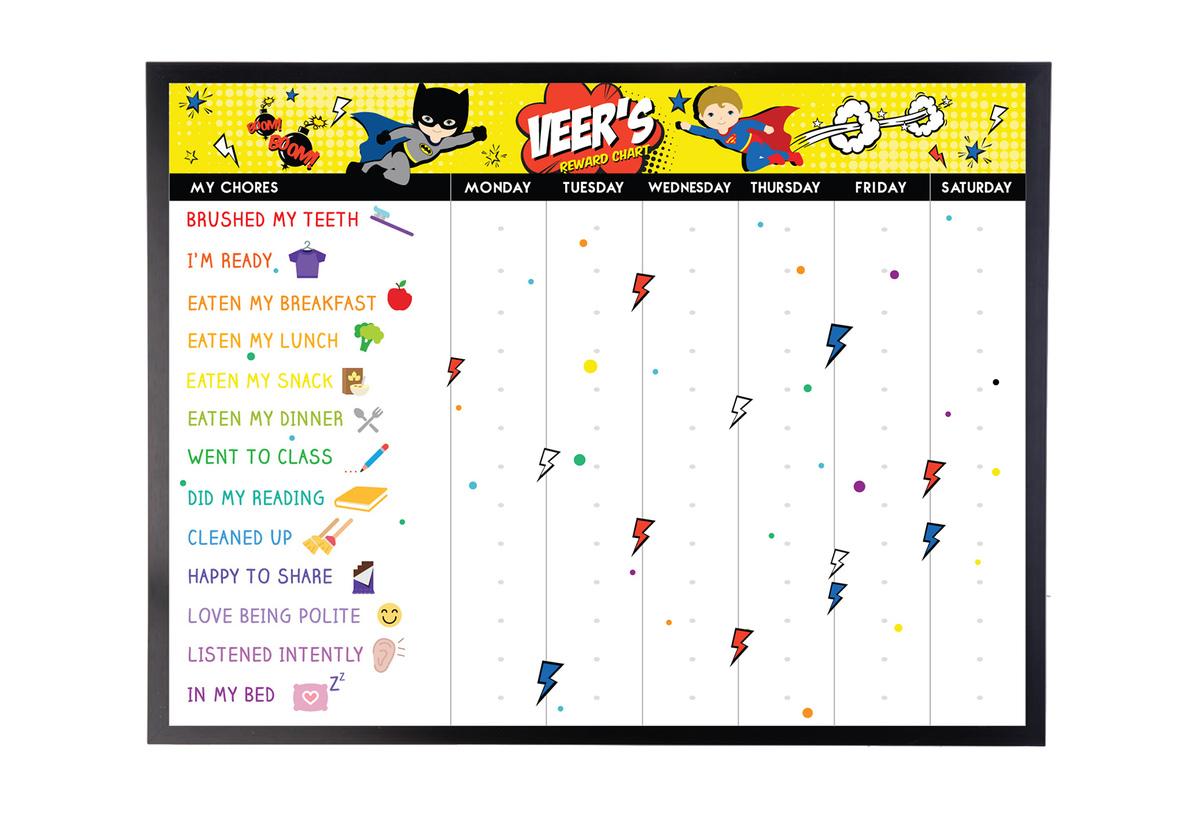 Personalised Kids Rewards Chart Superhero Natty