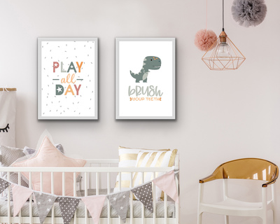 Play and dinosaur poster set of 2 neutral thumb