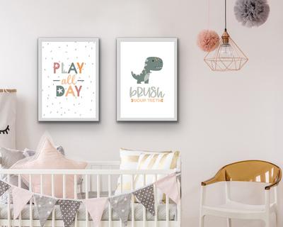 Play and dinosaur poster set of 2 neutral thumb