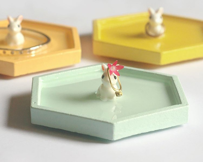Bunny hexagon trinket dish thumb
