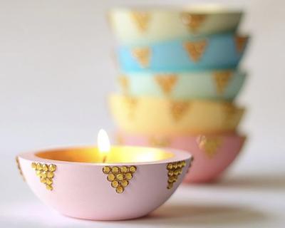 Decorative tea light candle holder set of 2 thumb