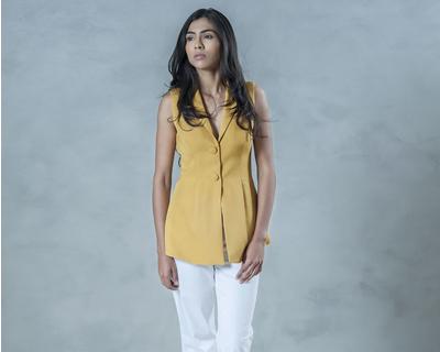 Shawl collar tailored top thumb