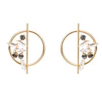 Disc foliage earrings small