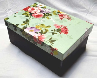 Sea green floral design gift storage box medium size thumb