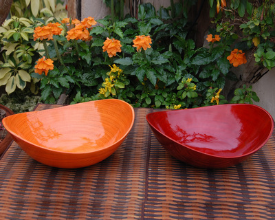 Bamboo lacquer bowl oval thumb