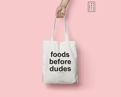 Foods before dudes tote bag thumb