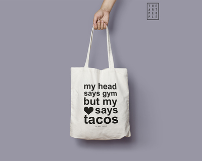 My head says gym but my heart says tacos tote bag thumb