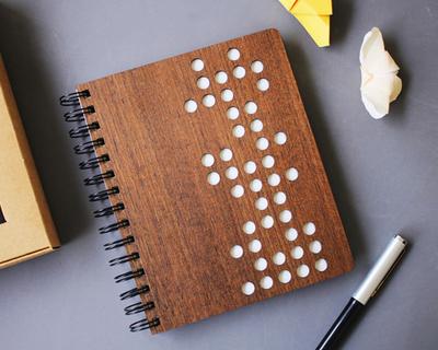 Domino premium wooden notebook thumb