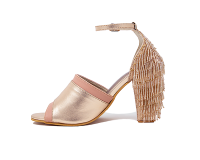 Rose gold and blush block heel with tassles altair thumb