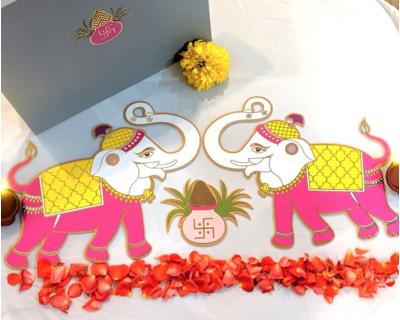 Elephant guards with kalash rangoli thumb