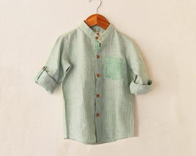 Aqua green linen boys shirt thumb