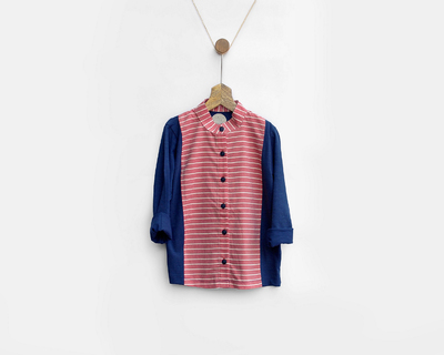Navy red striped mandarin shirt thumb