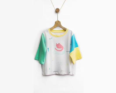 Curious cat color block tee thumb