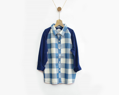 Blue white checked shirt thumb