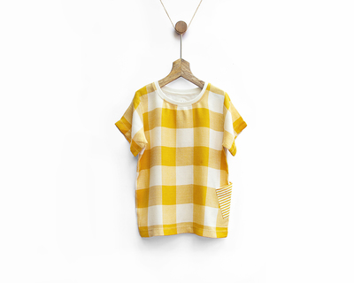 Ochre yellow woven checks tee thumb