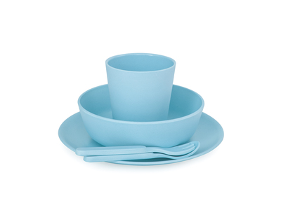 5 piece bamboo dinner set pacific blue thumb