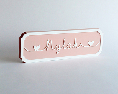 Name plaque cursive pink thumb