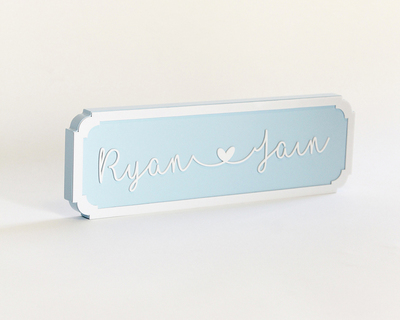 Name plaque cursive blue thumb