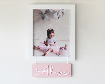 Personalized name frame pink thumb