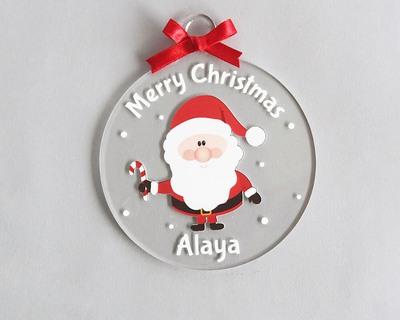 Personalized merry christmas ornament santa thumb