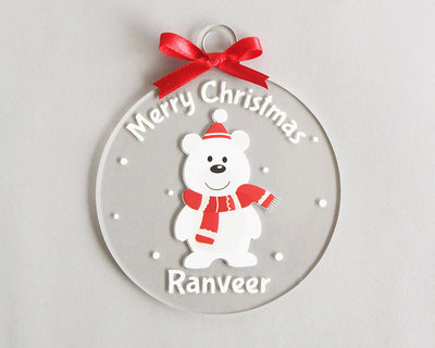 Personalized merry christmas ornament bear thumb