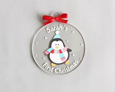 Personalized first christmas ornament penguin thumb