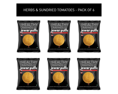 Roasted jowar puffs herbs sundried tomatoes pack of 6 25g each thumb