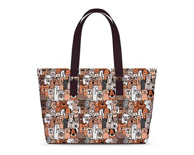Dog mob umber brown horizontal tote bag thumb