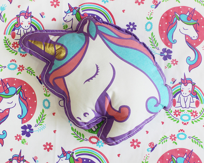 Unicorn rainbows shape cushion thumb