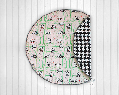 Panda village quilted cotton playmat cum storage bag pink thumb