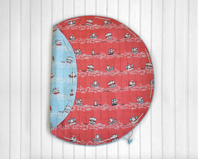 Sea ships quilted cotton playmat cum storage bag red blue thumb
