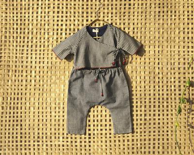 Indigo handspun baby top and pyjama set thumb