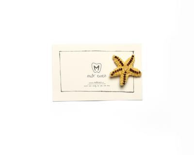 Starfish brooch mustard thumb