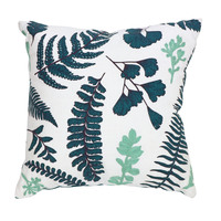 Green botanical leaf cushion cover small