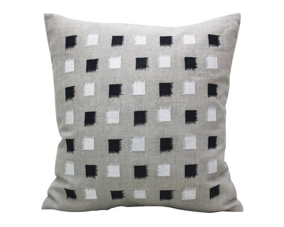 Black white square block embroidered cushion cover thumb