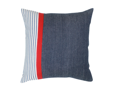 Stripes cushion cover with colour block thumb