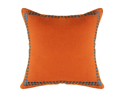 Border block embroidered cushion cover thumb