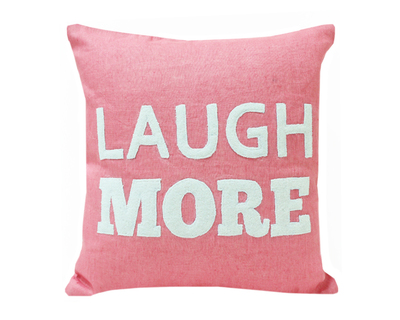 Laugh more applique cushion cover thumb