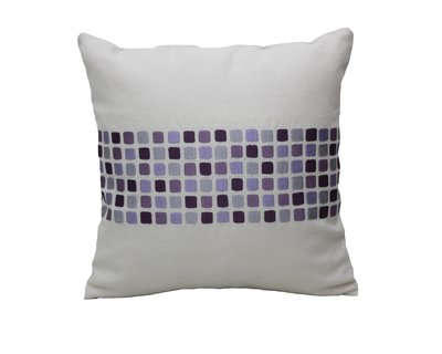 Geometric panel embroidered cushion cover thumb