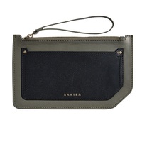 Dual tone pouch military green black small