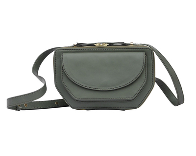 Twin zip crossbody military green thumb