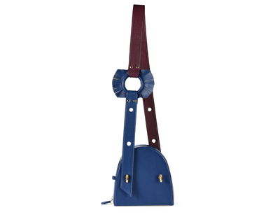 Blue half moon bag with dual colour ring strap thumb