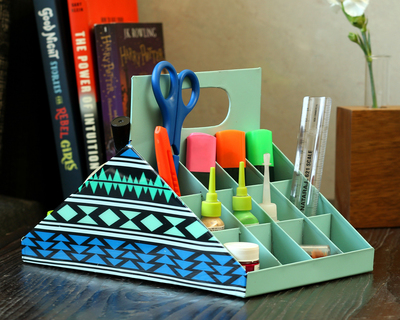 Two faced organiser teal blue thumb