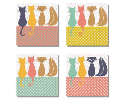 3 cats coasters set of 4 thumb