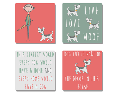 Old man with his dog coasters set of 4 thumb