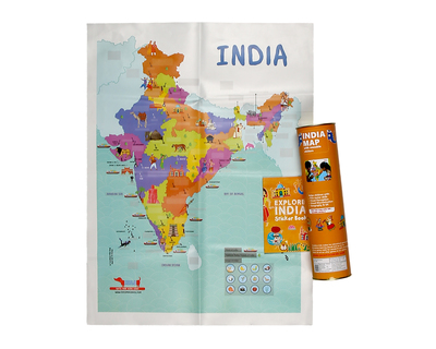 India map with reusable stickers activity kit thumb