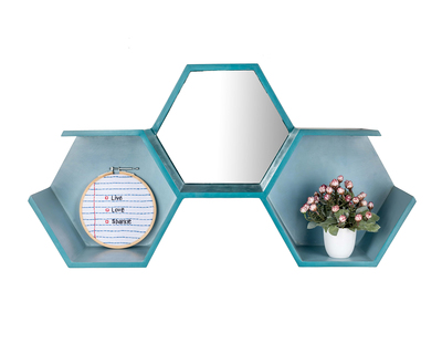 Honeycomb wall shelf mirror thumb