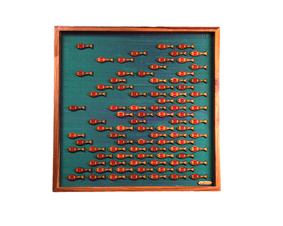 Pichwai fish wall art dark blue thumb